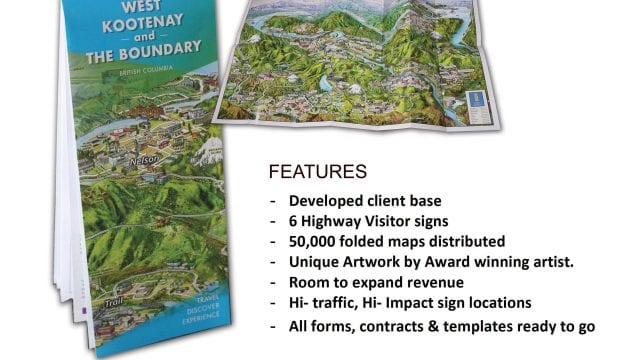 Established Kootenay Guide and Info Sign is a business for sale in BC.